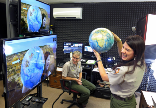 Environmental Educators Andy Pearce and Amala Posey prepare for their first live broadcast from Grand Canyon's new Virtual Studio for Kids.NPS Photo by Kristin M. Coldon