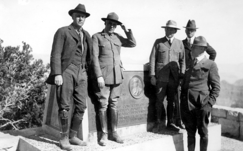 NPS photo | Steven T Mather, first Director of the NPS (far left), at the Powell Memorial on the South Rim with Grand Canyon's first designated Superintendent Dewitt L Raeburn (right front) and the man who would follow him as Superintendent Walter Wilson Crosby (plain clothes, right back)