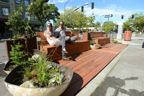 "A ""parklet"" recently installed in Bellingham, Washington 