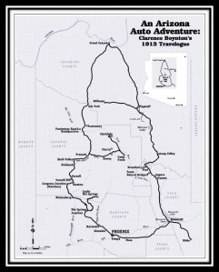 The route taken by Clarence Boynton on his 1913 trip around Arizona. | Courtesy of Nancy Burgess