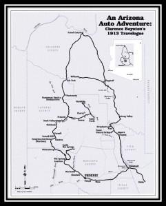 The route taken by Clarence Boynton on his 1913 trip around Arizona. | Courtesy of Nancy Burgess