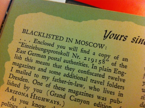 A letter in the May 1965 issue of Arizona Highways