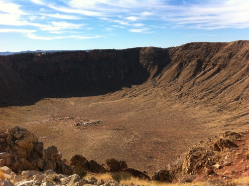 Meteor Crater. The structure at the center is an old mine shaft. | Noah Austin