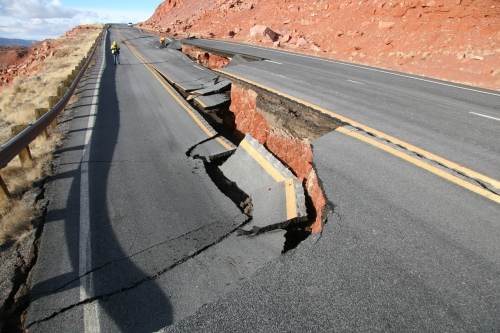 Crews inspect a portion of U.S. Route 89 that buckled last February after a landslide. | Courtesy of Arizona Department of Transportation
