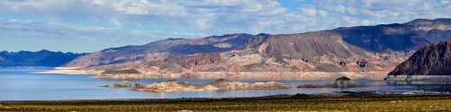 """This 2008 photo of Lake Mead clearly shows the white """"bathtub ring"""" around the lake. Water levels have dropped even further since then. 