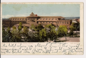 A postcard of El Tovar, circa 1906. The sender describes the breathtaking view of the Grand Canyon from the hotel.   Courtesy of Suzanne Silverthorn
